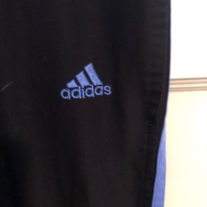 adidas Pants - black adidas track pants with blue accents